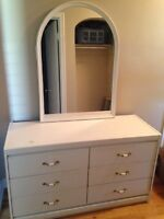 White dresser and bedside table