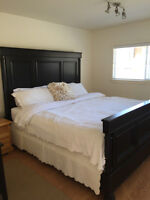 Custom Built Solid Fir King Size bed, 2 Bedside Tables and Mattr