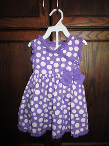 Girls 2pc purple polka dot dress in size 18 months