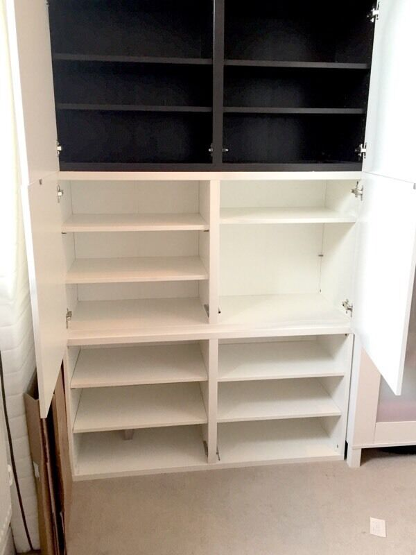 Urgent For 10 Ikea Besta Shelf Unit With Doors White Brown