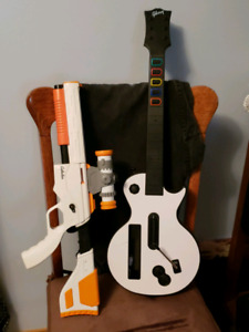 Wii Guitar and Rifle