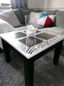 Zebra black and white coffee table