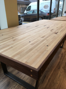 Maple/walnut bowling alley dining table with tapered metal legs