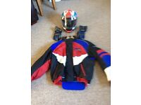 Motorbike helmet jacket and gloves
