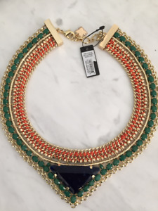 BCBG Statement Blue and Green Stone Gold Necklace with Orange Tr