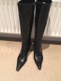 LK Bennett Black leather zipped boots size 38.5