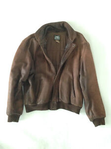"""Distressed Leather """"Roots"""" Bomber Jacket"""