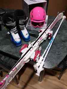 Skis, boots, and helmet