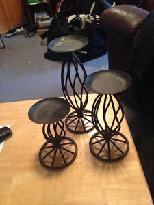 3pc black candle holders