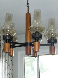 WOOD AND METAL CHANDELIER