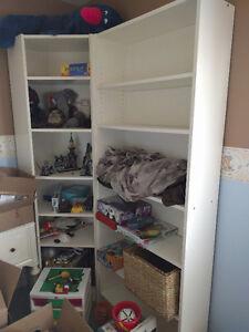 $40 for each White IKEA bookshelf (corner unit SOLD)