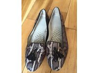 Clarke a shoes flats grey snakeskin flats great for work or casual