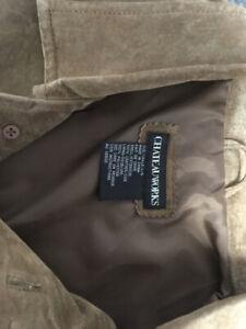 20$ Manteau Homme en Suède Véritable caramel Large excellent