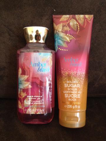 Bath & Body Works Amber Blush Shower Gel & Golden Sugar Scrub
