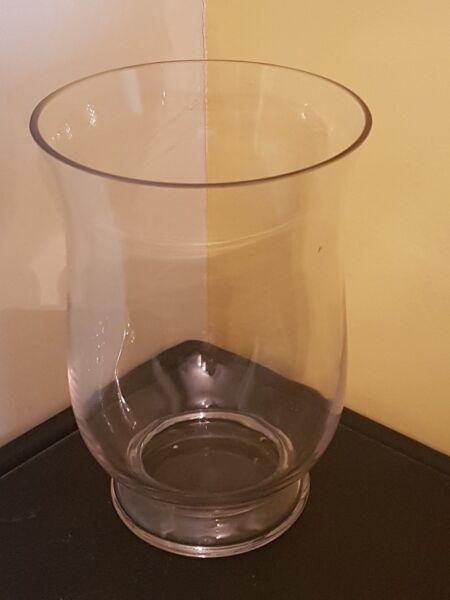 Bucket Shaped Clear Glass Vase