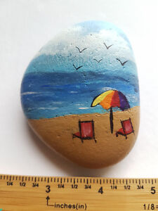 Beach Painting On Rock and Drift Wood