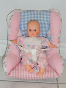 PINK BABY DOLL CARRIER AND DOLL