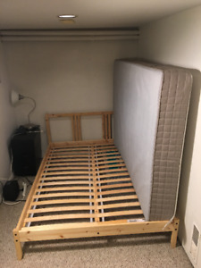IKEA FULL BED FRAME, SLATS & SPRING MATTRESS ($450 RRP inc. tax)