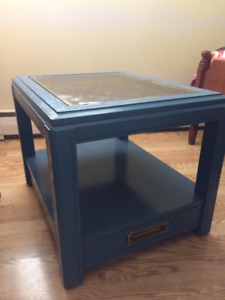 Blue End Table w/ Glass top