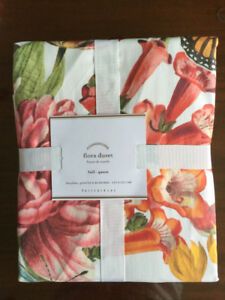 POTTERY BARN KING SIZE DUVET COVER AMAZING FLORAL  HAPPY DESIGN