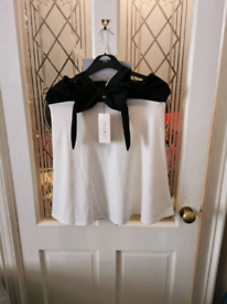 Ladies Size 12 Club London Black&white Halter Neck Dress With Tags