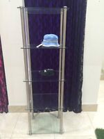 Tall 5 glass shelves shelf display case metal