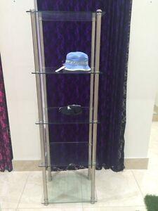 Tall 5 glass shelves shelf display case metal