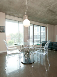 Modern Glass Kitchen table & 4 Clear Acrylic Chairs for Sale