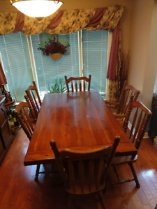 Solid Wood Table and Hutch