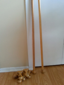 Pôle en bois pâle + fixations pour porte patio /large fenêtre