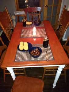 Solid wood dinning set with 6 chairs