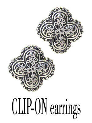 Antique Silver Clip - Designer textured antique silver FILIGREE  alloy Teardrop Clip on EARRINGS