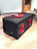 """Dual 12"""" MTX subs, box, new amp and wiring $280"""