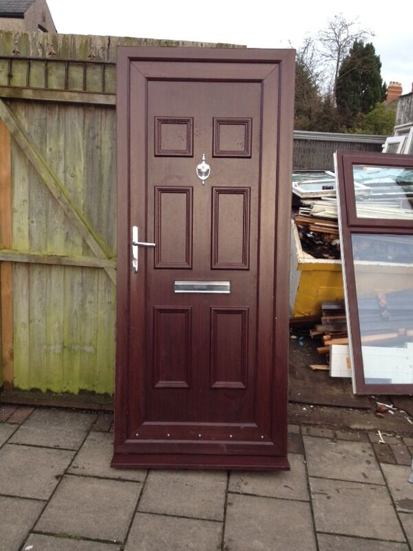 Used rosewood brown upvc front door in newport gumtree for Brown upvc door