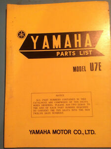 1972 Yamaha Parts Book Model U7E Regina Regina Area image 1
