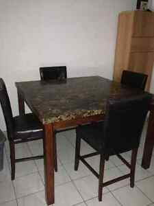 $200 FIRM:  Granite bar height dining table and 8 chairs Cambridge Kitchener Area image 1