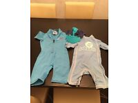 Boys swim wear with hat and 2 towels 2-4years old