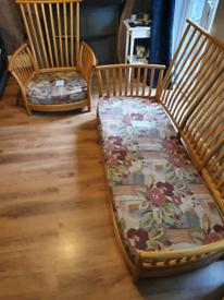 Ercol renaissance 2piece suite, 2/3seater 190cm long, chair 90cm width