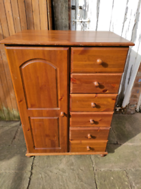 Heavy solid pine wardrobe chest of drawers tallboy