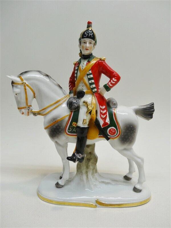 Uffrecht German Porcelain Figurine 15th Reg. Of Light Dragoons 1760 On Horseback