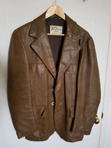Used Vintage Brown Leather Blazer Jacket