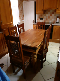 100% solid sheesham indian wood table and 6 chairs