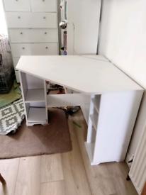 Light/white wood effect corner computer desk