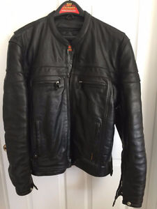 Hot Leather's, Mens Leather Motorcycle Jacket with Double Piping