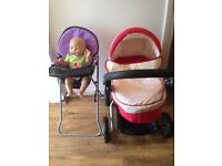 Silvercross toy Pram, high chair and baby