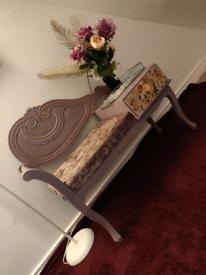 Beautiful Upcycled vintage retro telephone table purple velvet crush
