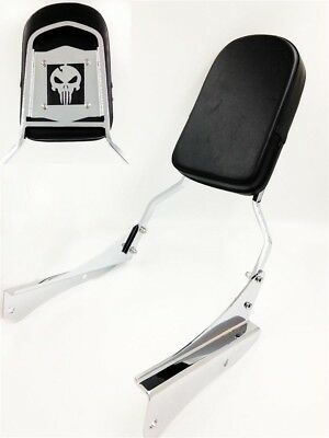 - Chrome Skull Backrest Sissy Bar For 2001-2008 Honda Shadow Spirit 750 / VT750