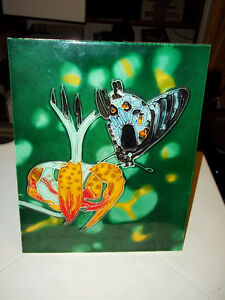 "Unique Flower and Butterfly  Art Tiles 10"" x 8"""