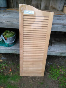"Vintage Set of Louvered Wood Cafe Doors 28"" X 36"" Still in the O"