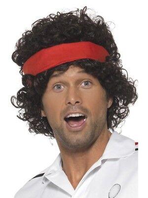 Eighties Wig (Brown Eighties Tennis Player Wig Adult Mens Smiffys Fancy Dress)